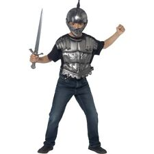 Kids Medieval Helmet & Armour Set Silver Roman Fancy Dress Kit