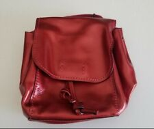 Coach (F16605) Derby Metallic Red Pink Pebbled Leather Backpack