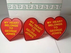 George Jones Pinback Button Heart Shaped Plastic Pin  Vintage 1984  3 for $10.