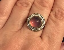 Mood Stone Round Silver Tone Ring Adjustable Fits Size Up To Q