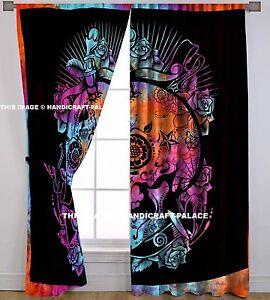 Head of Skull Mandala Indian Boho Style Centre Pattern Art Curtain 2 Panels Set