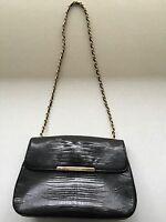 Black Leather Ann Taylor Small Box Purse Micro Handbag Evening