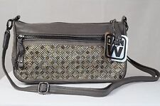Dan W Light Brown 100% Genuine Leather Studded Convertable Cross Body Bag