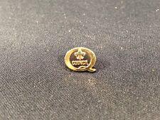 """Vintage Gold Colored Fluer De Lis Tie Tack Pin 1/2"""" Boy Scouts Q Council No Back"""