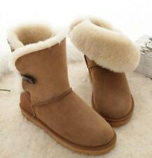 Womens Suede Fur Lined Winter Snow Boots Leather Waterproof boots Shoes