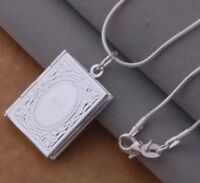 925 Sterling Silver Filled Book Locket Chain Necklace Women's Jewellery Gift