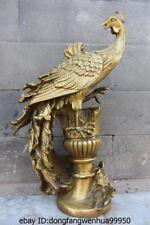 Chinese Royal  Brass Copper Painted Feng Shui pheasant phoenix Bird Art Statue