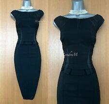 KAREN MILLEN UK 10 Black Wool Blend Formal Peplum Style Pencil Party Race Dress