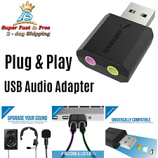 Laptop Pc USB External 3D Audio Stereo Sound Card Adapter Device Headphone Jack