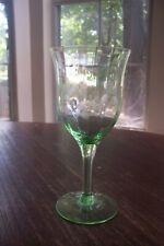 Vintage Uranium Green Optical Etched Wine Glass