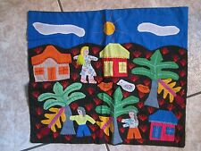 Primitive applique village people palm tree pillow case Mexico Peru Mola Style