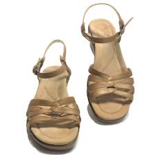 Dansko Womens 9.5 10 40 Ankle Strap Sandals Tan Leather Wedge Buckle Open Toe