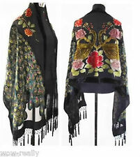 Wholesale New Style Peacock 100% Silk Velvet Black Beaded Long Scarf Wraps Shawl