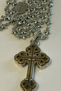 100% Authentic King Baby Studio Sterling Necklace (34 inch) w/ Cross (2 inch)