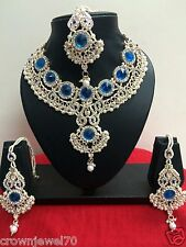 Blue Jewelry Patwa Set with Earrings and Tikka