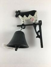 Cast iron hanging dinner door bell painted cow wall post mounted 6.5""
