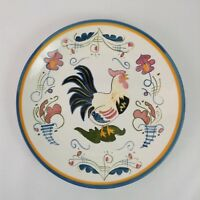 """Country French Hand Painted 15"""" Round Rooster Serving Platter"""