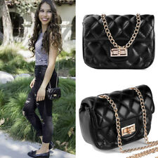 Black Mini Quilted Cross body Bag Purse Shoulder Handbag With Gold Chain Strap