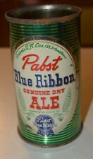 Pabst Flat Top Beer can GREEN BACK GROUND top is missing NICEST