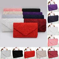 New Ladies Grace Lace Envelope Clutch Bag Party Prom Wedding Evening Bag Handbag
