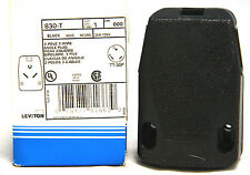 Leviton 830-T 30 Amp Industrial Grade Grounding Angle Plug Black 30A New in Box