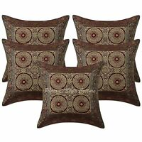 Indian Brocade Cushion Cover Home Decorative Sofa pillow Case Cover Throw 5pcs