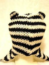 Black Cream striped knitted Teddy cat ears Peruvian trapper hat Ski snow cosplay