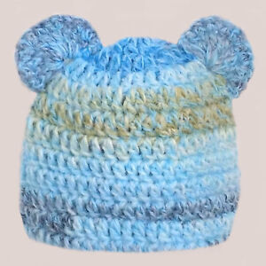 HAND CROCHETED BABY BOYS HAT teddy bear ears shower gift knit photo prop BLUE
