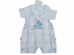 BNWT Baby Boys checked summer sailing ship 2 Piece dungaree & top REDUCED SALE