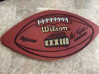 "Broncos  SUPER BOWL xxxiii WILSON LEATHER FOOTBALL SHAPED DISPLAY PIECE 13.5x7"""