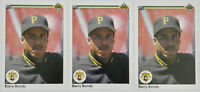 1990 UPPER DECK BASEBALL Barry Bonds 3x Card Lot NM #227 NM Pirates Giants