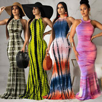 Women Sleeveless Tie-dye Long Dress Party Cocktail Bodycon Summer Beach Sundress