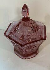 "Fenton Glass Mulberry Grape Hexagonal Box Lidded Candy Dish 6.25"" x 5"" 1990s"