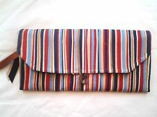 Handmade Wallet/Clutch - Free Shipping -Blue/Rust Stripe 250