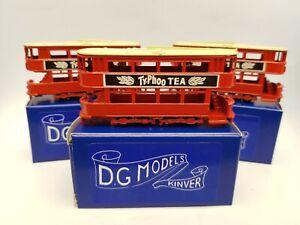 N gauge 2mm die cast trams red with Typhoo Tea livery X 3