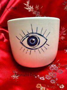 Mati Evil Eye Ceramic White Planter Pot