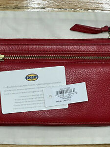 Fossil Karli Real Red Genuine Leather Bifold Organizer ID Slot Wallet Clutch