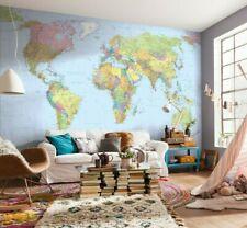 Heimbüro Wände Weltkarte IN Blau Wohnzimmer Tapete Wandkunst 144x9