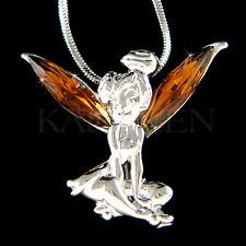 w Swarovski Crystal ~Brown Tinkerbell~ Tinker Bell Fairy ANGEL Necklace Jewelry