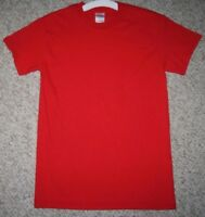 Size Small Short Sleeve Gildan Red Heavy Cotton Tee T-Shirt Men's Top Man Solid
