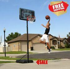 "Portable Basketball Hoop Goal Adjustable 44"" Backboard Pole Outdoor Sport Black"