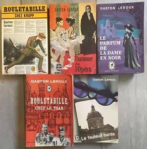 Lot 5 romans Gaston Leroux – fantôme opéra, Rouletabille, fauteuil hanté...