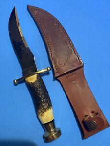 Case XX 2004 Stag Kodiak Knife With Tooled Leather Sheath Near Mint No Box