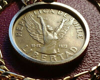 """1989 Republica De Chile Lady LIBERTAD Coin Pendant w 22"""" 18KGF Gold Filled Chain"""
