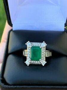 $3600 Vintage Colombian Emerald Diamond 18k White Gold Ring