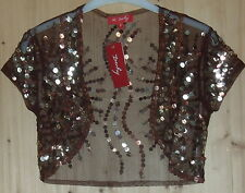 FËTES SOIREE CEREMONIE BOLERO RESILLE BRODE SEQUINS MARRON RENE DHERY T S NEUF