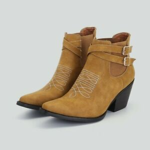 Chunky Heel Women Ankle Boots Buckle Pointy Toe Cowboy Chelsea Booties Western L