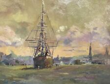 Coastal Painting with Boat