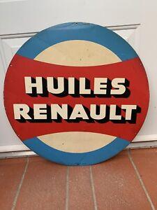 ancienne plaque non émaillée HUILES RENAULT en tole garage 12/1959
