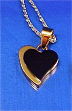 "STAINLESS STEEL 2-TONE, BLACK & GOLD TONE DOUBLE HEART PENDANT W/20"" CHAIN"